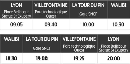 Tableau des horaires A/R de la ligne Lyon <> Walibi